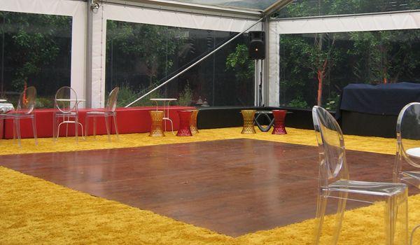 Walnut Dance Floor & Custom Laid Carpet