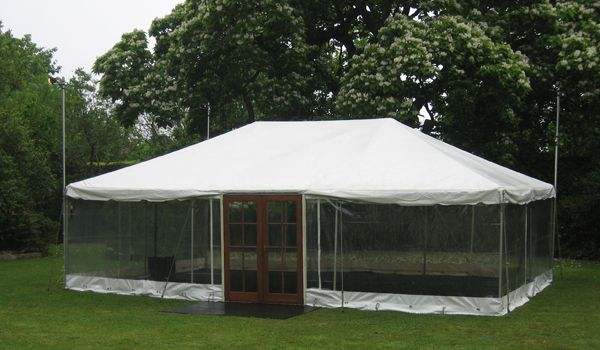 6m x 9m Frame Marquee – Clear Walls & Timber Door Set