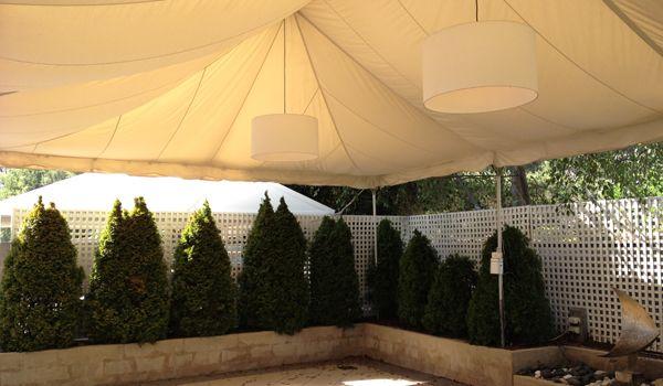 Frame Marquee – Ecru Liner & White Chintz Lanterns