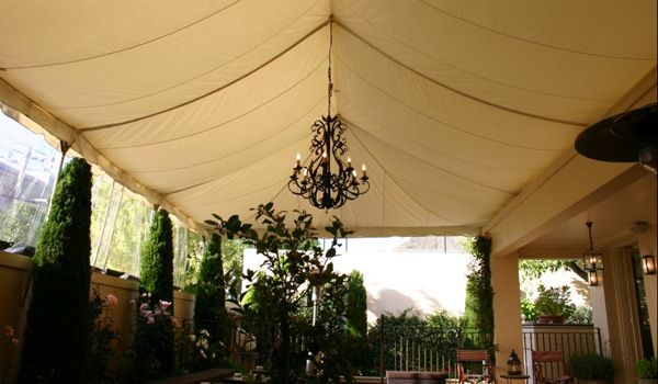 Frame Marquee - Ecru Liner & 3m Leg Extensions Joined to House
