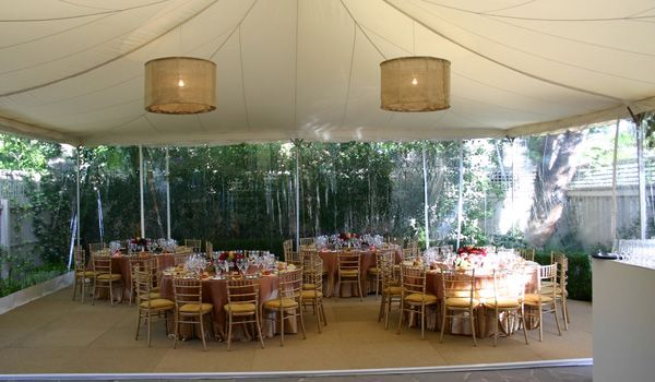 Frame Marquee – Ecru Liner & 3m Leg Extensions Joined to House