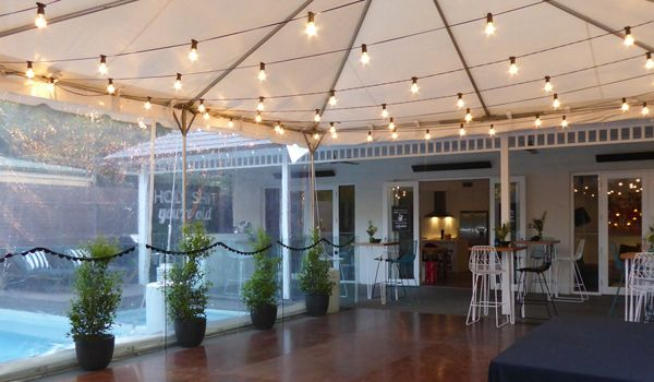 Frame Marquee – Festoon Lights & 3m Leg Extensions Joined to House
