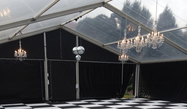 12m Clearspan Structure – Clear Roof & Black Walls