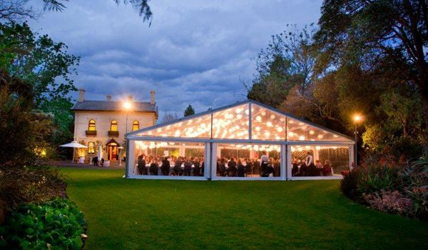 15m Clearspan Structure with Festoon Lights & Lanterns – Garden's House