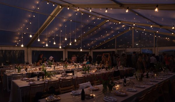 Clearspan Structure with Festoon Lights & Fancy Round Globes