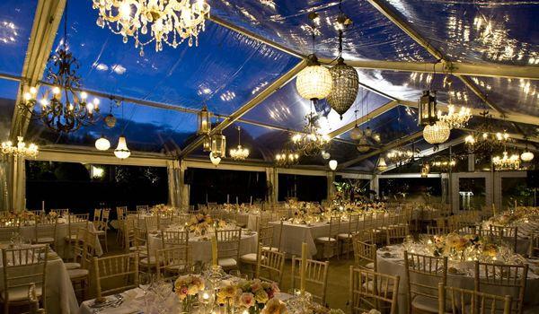 Clearspan Structure with Chandeliers