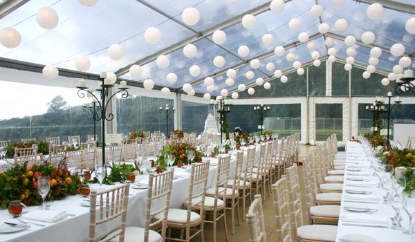 12m Clearspan Structure with Festoon Lights & Lanterns