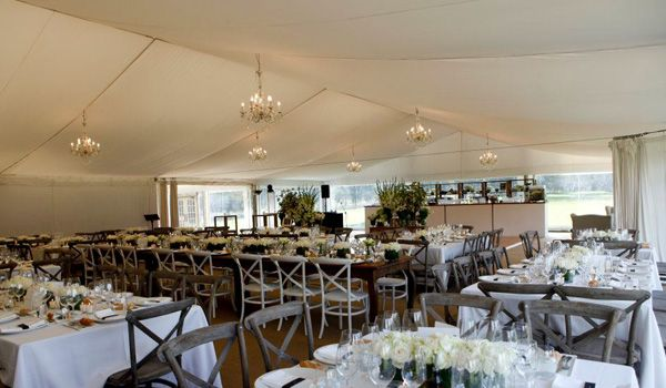 15m Clearspan Structure – Flat White Liner & Chandeliers