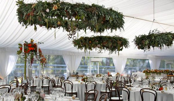 15m Clearspan Structure – Gathered White Liner & Leg Drapes