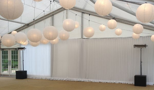 12m Clearspan Structure – Gathered White Wall Liners