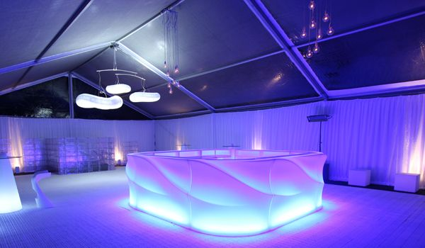 10m Clearspan Structure – Gathered White Wall Liners