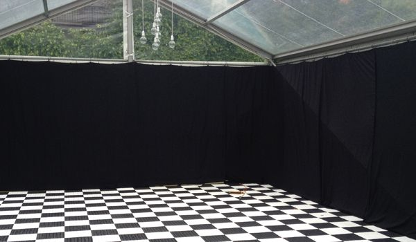 6m Clearspan Structure – Clear Roof & Black Wall Liners