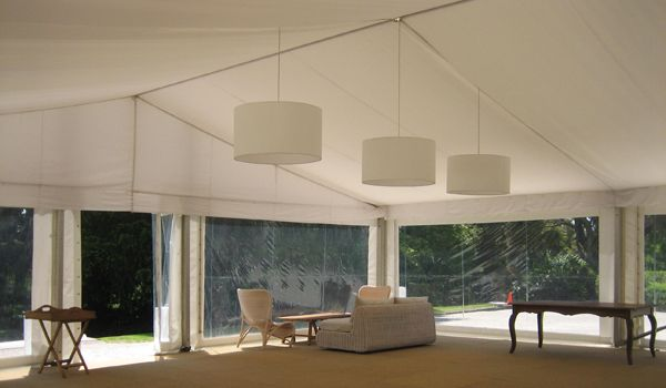 12m Clearspan Structure – Flat White Liner & White Chintz Lanterns