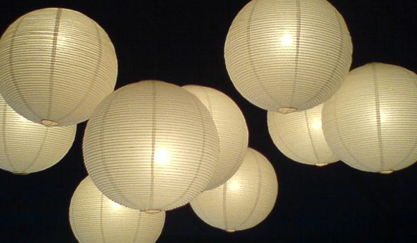 Cluster of Coloured Rice Paper Lanterns – Frame Marquee & Black Liner
