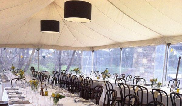 Black Chintz Drum Lanterns - Frame Marquee & Ecru Liner