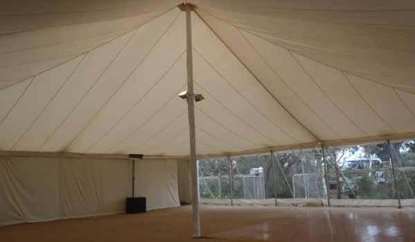 12m x 12m Pole Marquee – Ecru Roof Liner & Centre Pole Up-Lights