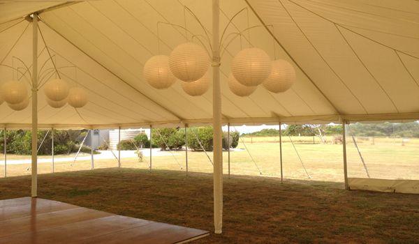 12m x 18m Pole Marquee – Ecru Roof Liner & 6 Arm Lantern Hangers