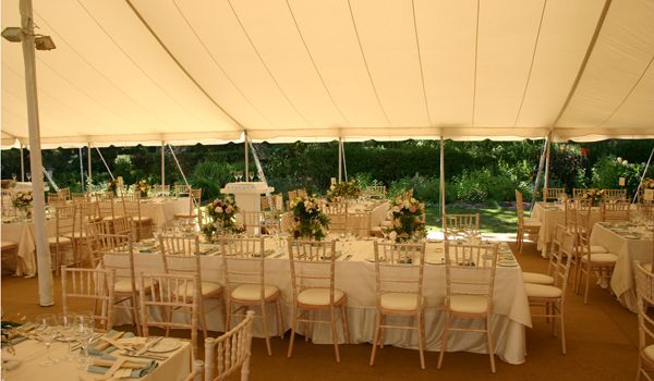 Pole Marquee – Ecru Roof Liner, Sides Open