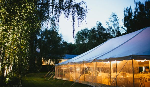 12m x 24m Pole Marquee at Dusk